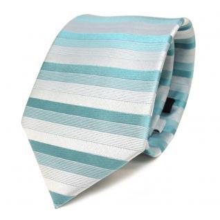 feine Designer Krawatte in türkis grün grau gestreift 100% Seide