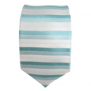 feine Designer Krawatte in türkis grün grau gestreift 100% Seide - Vorschau 2