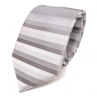 schöne feine Designer Seidenkrawatte silber grau gestreift - Krawatte 100% Seide