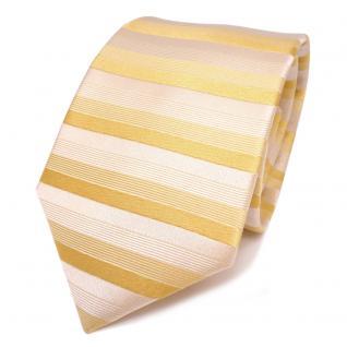 schöne feine Designer Seidenkrawatte gelb grauweiss gestreift - Krawatte Seide