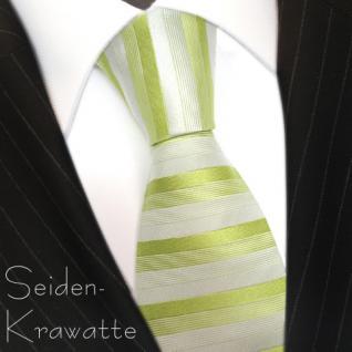 schöne feine Designer Krawatte in grün grau gestreift 100% Seide