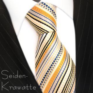 TigerTie Seidenkrawatte orange schwarz blau silber gold gestreift - Krawatte Tie