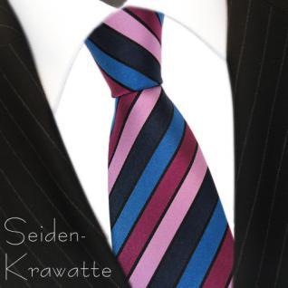 Designer Seidenkrawatte in rosa magenta blau gestreift - Krawatte 100% Seide