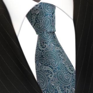 schöne TigerTie Krawatte aus 100% Seide in türkis silber paisley gemustert