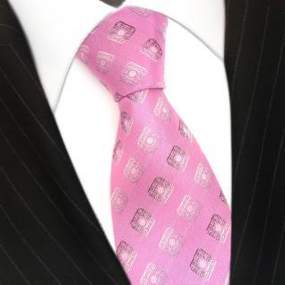 Seidenkrawatte pink rosa silber Karo Muster - Krawatte 100 % Seide Silk