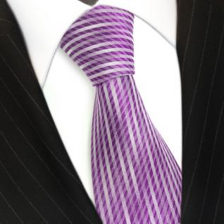 Seidenkrawatte lila violett silber gestreift - Krawatte 100 % Seide Silk