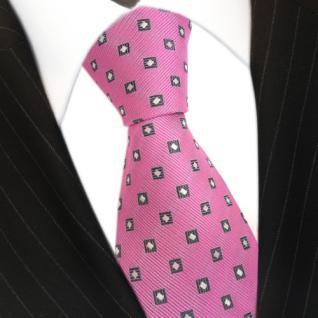 Seidenkrawatte pink rosa anthrazit weiss Karo Muster - Krawatte 100 % Seide Silk
