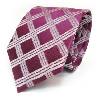 Designer Seidenkrawatte rot purpurrot silber kariert - Krawatte 100 % Seide Silk - Vorschau 2
