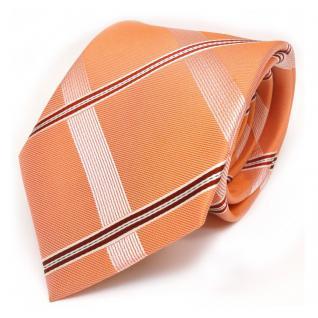 Designer Seidenkrawatte orange weiss rot gestreift - Krawatte 100 % Seide Silk