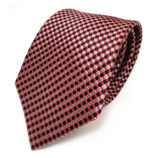 TigerTie Seidenkrawatte rot schwarz grau gemustert - Krawatte 100% Seide Silk