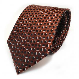 Designer Seidenkrawatte braun schwarz silber gemustert - Krawatte 100% Seide