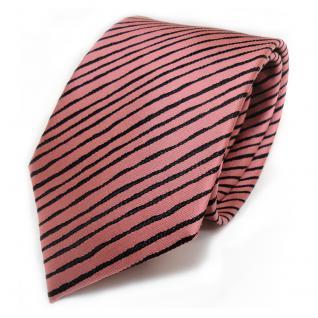 Schicke Seidenkrawatte rosé rosa schwarz gestreift - Krawatte 100 % Seide
