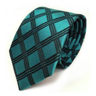 Elegante Seidenkrawatte türkis schwarz kariert - Krawatte 100 % Seide