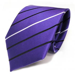 Designer Seidenkrawatte lila blaulila violett schwarz weiss gestreift - Krawatte Seide