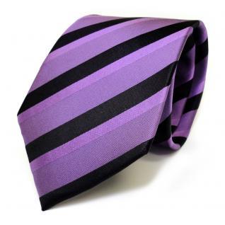 Designer Seidenkrawatte lila violett schwarz gestreift - Krawatte Seide