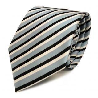 Designer Krawatte - Schlips Binder blau graublau schwarz weiss gestreift - Tie