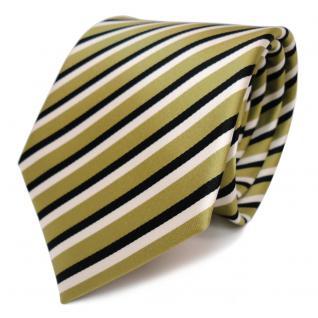 Designer Krawatte - Schlips Binder grün hellgrün schwarz weiss gestreift - Tie