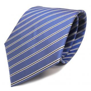 Elegante Designer Krawatte - Binder Schlips blau schwarz weiss gestreift - Tie