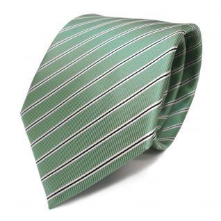 Designer Krawatte grün hellgrün schwarz weiss gestreift - Tie Schlips Binder