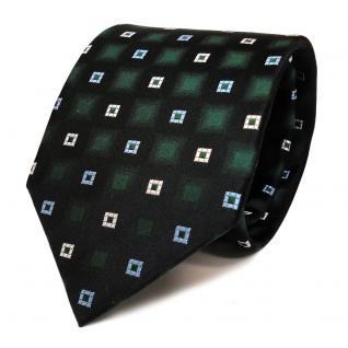 Designer Seidenkrawatte grün schwarz weiss blau Karo - Krawatte Seide Tie Binder