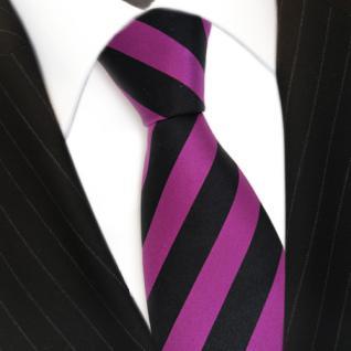 Schicke Seidenkrawatte magenta purpur violett schwarz gestreift - Krawatte Seide - Vorschau 3