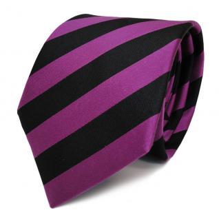 Schicke Seidenkrawatte magenta purpur violett schwarz gestreift - Krawatte Seide