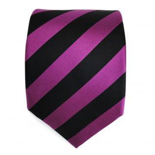 Schicke Seidenkrawatte magenta purpur violett schwarz gestreift - Krawatte Seide - Vorschau 2