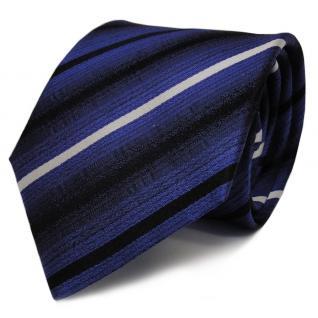 TigerTie Seidenkrawatte blau schwarz weiß gestreift - Krawatte Seide Tie Binder