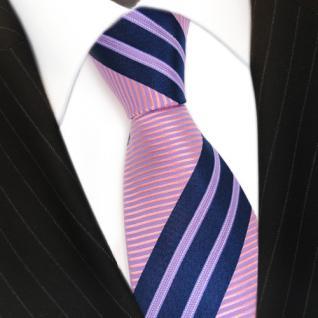 Schicke Seidenkrawatte rosa lila blau dunkelblau gestreift - Krawatte Seide Tie - Vorschau 3