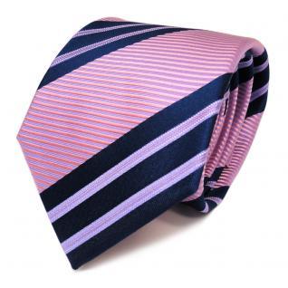 Schicke Seidenkrawatte rosa lila blau dunkelblau gestreift - Krawatte Seide Tie