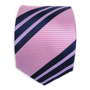 Schicke Seidenkrawatte rosa lila blau dunkelblau gestreift - Krawatte Seide Tie - Vorschau 2