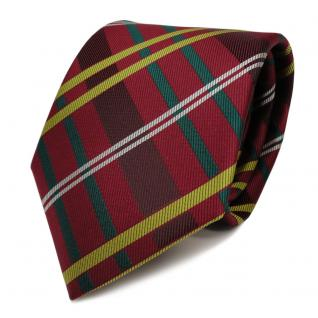 Schicke Seidenkrawatte rot grün silber goldgelb gestreift - Krawatte Seide Tie