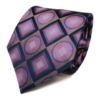 Schöne Designer Seidenkrawatte lila blau dunkelblau gemustert - Krawatte Seide