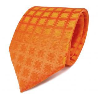 Schicke Designer Seidenkrawatte orange reinorange gemustert - Krawatte Seide