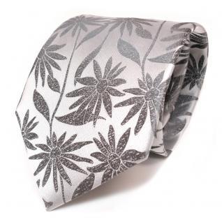 Feine Designer Seidenkrawatte silber grau gemustert - Krawatte Seide Binder Tie
