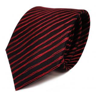 Schicke Seidenkrawatte rot schwarz gestreift - Krawatte Seide Tie