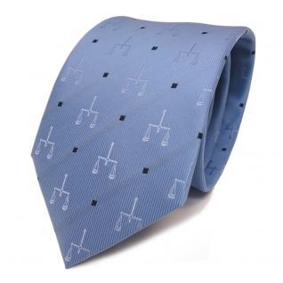 Designer Seidenkrawatte blau hellblau dunkelblau gepunktet mit Motiv - Krawatte