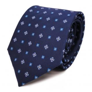 Designer Krawatte blau stahlblau hellblau silber gemustert - Schlips Binder Tie