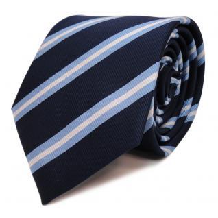 Designer Krawatte blau stahlblau hellblau silber gestreift - Schlips Binder Tie