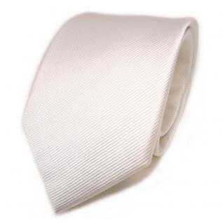 TigerTie Seidenkrawatte creme weiß elfenbein Uni Rips - Krawatte Seide Binder