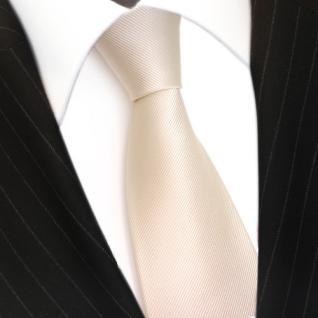 Designer Seidenkrawatte creme weiss perlmutt Uni Rips - Krawatte Seide Binder - Vorschau 3