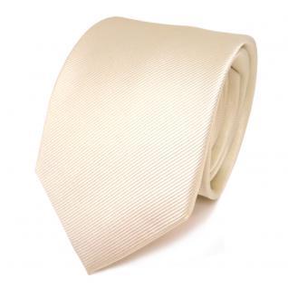 Designer Seidenkrawatte creme weiss perlmutt Uni Rips - Krawatte Seide Binder - Vorschau 1