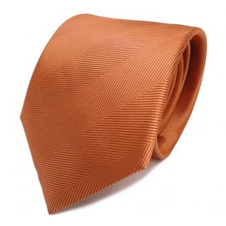 Designer Seidenkrawatte orange hellrotorange Uni gestreift - Krawatte Seide Tie