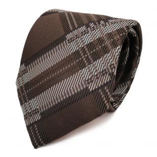 Designer Krawatte braun terrabraun silber grau blau kariert - Schlips Binder Tie