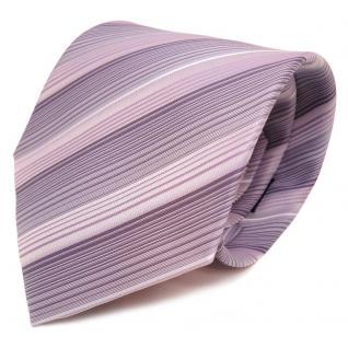 Designer Krawatte lila violett pastellviolett weiss gestreift - Schlips Binder