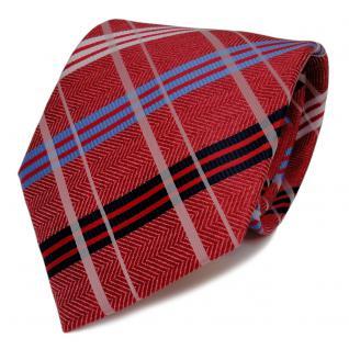 Designer Krawatte rot verkehrsrot weiss royal blau kariert - Schlips Binder Tie