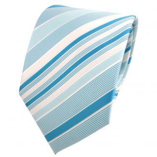 TigerTie Designer Krawatte mint türkis pastelltürkis silber gestreift - Binder
