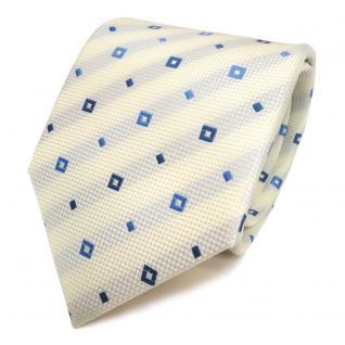 Designer Krawatte creme blau hellblau gemustert - Schlips Binder Tie