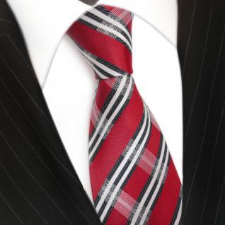 Designer Seidenkrawatte rot weiss blaugrau dunkelblau gestreift - Krawatte Seide - Vorschau 3