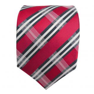Designer Seidenkrawatte rot weiss blaugrau dunkelblau gestreift - Krawatte Seide - Vorschau 2